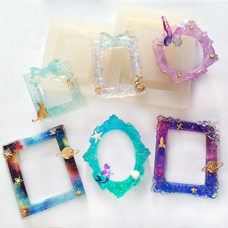 6 styles frame liquid silicone mold diy resin jewelry