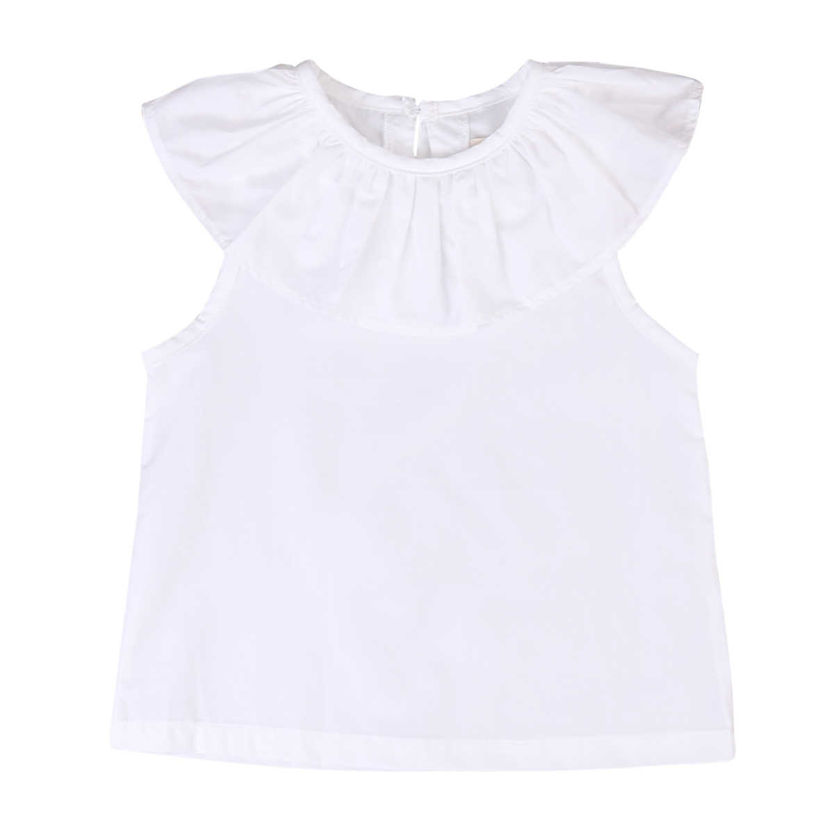 Blouse Emmababy Infant Toddler 2018 Summer Casual Shirt Crew Neck Ruffle Button Sleeveless Tops Kids Baby Girls Blouse