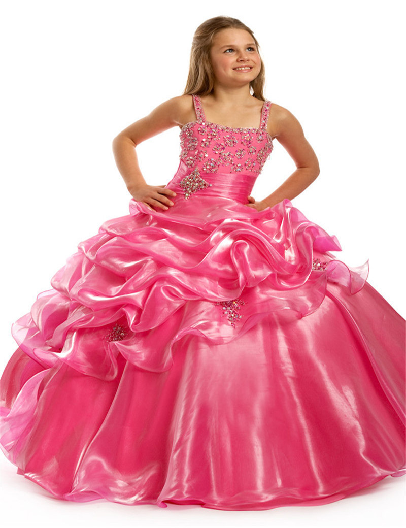 2017 Hot Pink Kids Party Gowns Beads Sequins Little Girls ...