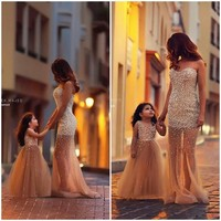 Gorgeous Gold Prom Dresses Long With Pearls 2019 New Women Evening Party Dress Pageant Gown Floor Length For Special Occasion