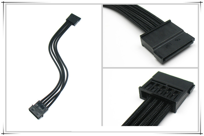 Molex 4PIN To Sata Connector Adapter/extension Cable With BLACK Sleeving 18AWG