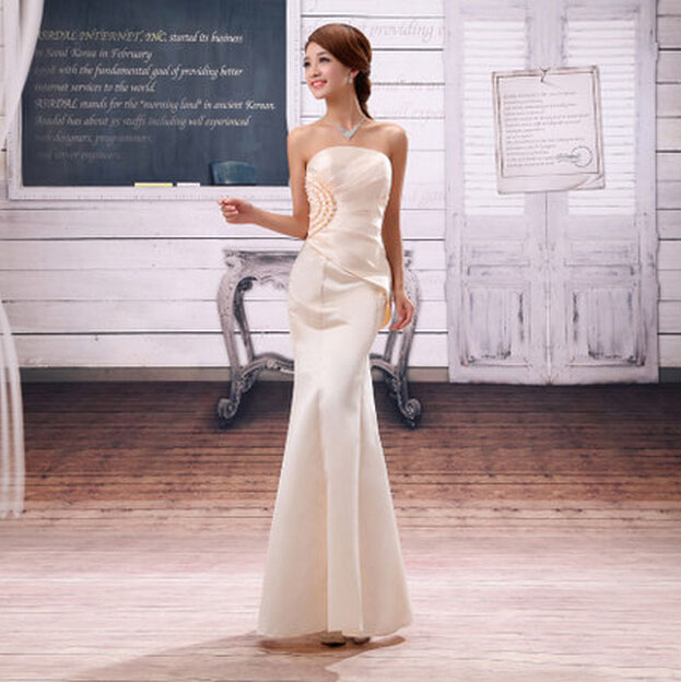 ladies elegant champagne fashion strapless bridal sexy floor length fitted  mermaid prom dress gold dresses long gowns H3116 b183c25a7