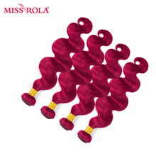 Miss Rola Hair Pre-colored Ombre Indian Body Wave 4 Bundles #BUG Color 100% Human Hair Weaving  Extensions Non-remy Hair Haare