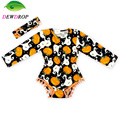 (DEWDROP)Halloween baby Clothes ,Long sleeve Pom Baby Girl Bodysuits ,Pumpkin Baby Girls Outfit ,Fesitval Baby Playsuit