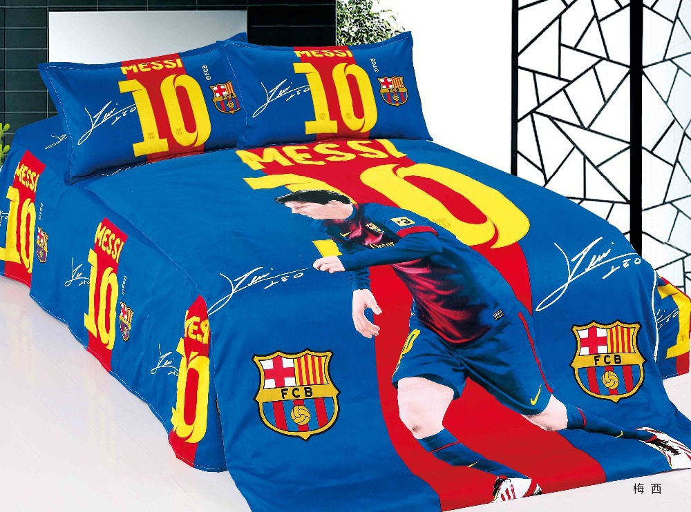 Home textile barcelona bedding set team 100 cotton Messi football ...