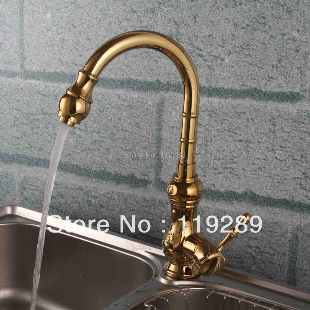 Long neck kitchen faucet - Golden Brass Kitchen Faucet Polished Gourd Shaped Long Neck Vessel Kitchen Water Faucet