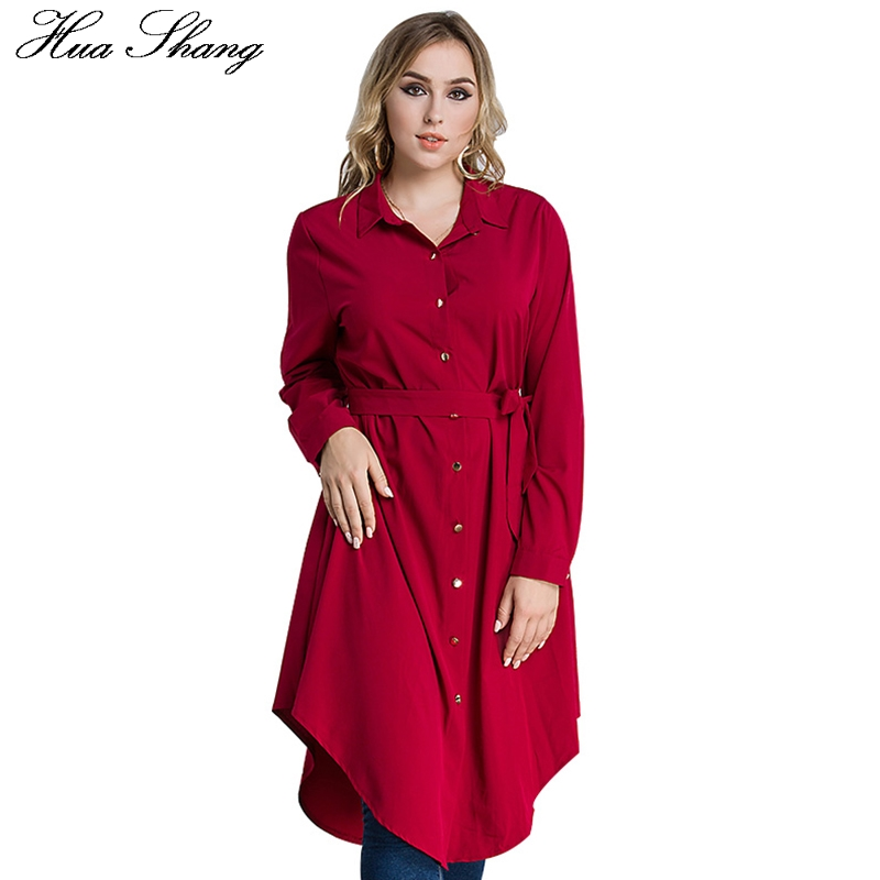 Plus Size 4XL 5XL 6XL Solid Long   Blouse     Shirt   Women Autumn Long Sleeve Asymmetrical Loose Tops Belted Blusas Red Black Green