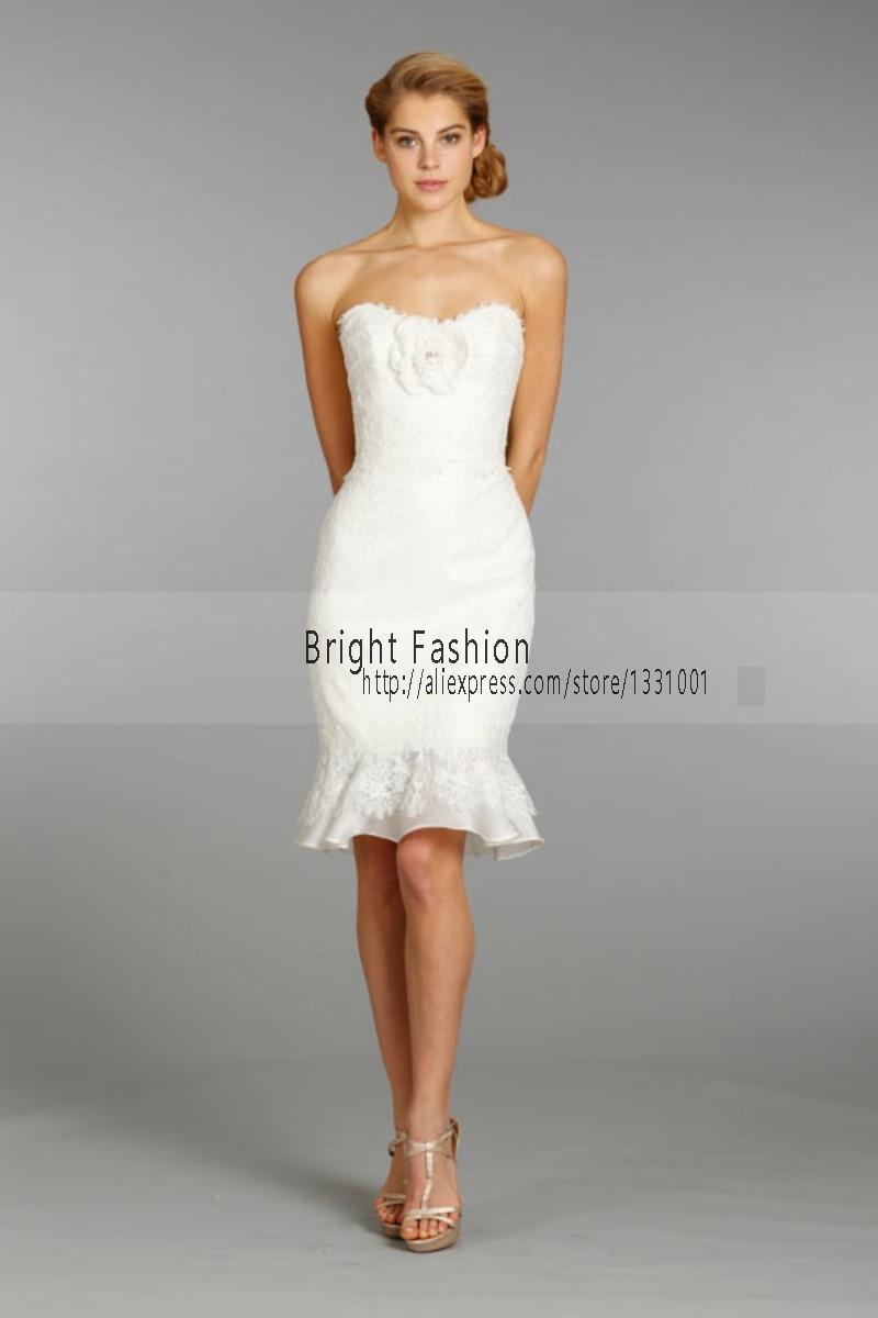 Cheap Short Wedding Dresses short white wedding dresses Appliques Lace Organza Knee Length A Line Short Wedding Dress