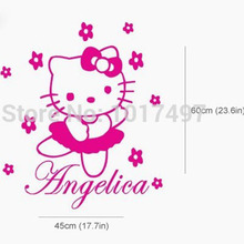 HELLO KITTY fairy Personalised name Wall Sticker Art Decal Vinyl Kids girl room Decorative Free Shipping ,c2065
