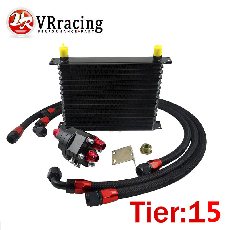 VR RACING - Universal 15 Row 10AN Aluminum Engine Transmission Oil Cooler Relocation Kit VR5115BK+6724BK+3PCS vr racing billet aluminum lower control arms fits for ford mustang 2005 2014 vr lca01s