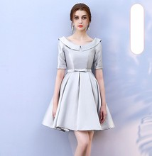 Grey Colour Above Knee Mini Dress  Bridesmaid Wedding Guest Empire Sexy