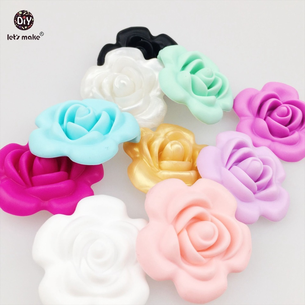 Let's Make Silicone Teether Handmade Teething Flower Shaped Silicone Necklace Sensory Toy DIY Bracelet 10PCS (BPA free) Teether