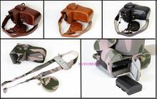 Edição de luxo caso da câmera de couro capa para canon fr-750d 550d 1200d 1300d 80d 70d 5diii 5dii saco com abertura da bateria