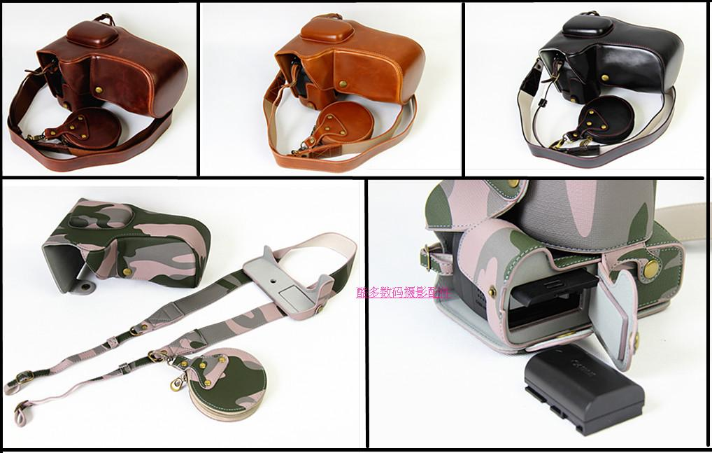 Deluxe Edition Leather Camera Case <font><b>Cover</b></font> For <font><b>Canon</b></font> 100D 760D 750D <font><b>550D</b></font> 1200D 1300D 80D 70D 5DIII 5DII Bag with Battery Opening image