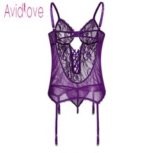 Avidlove Plus Size Transparent Lingerie Sexy Erotic Hot Sex Costume Women Halter Open Lace Babydoll Dress Underwear Set Nighty