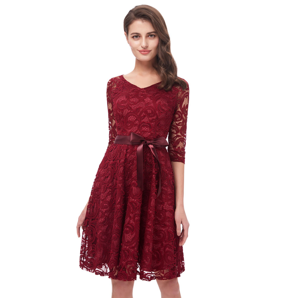 Beauty Emily Wine Red Lace Party   Prom     Dresses   2019 Short for Women A-Line Half Sleeve Formal Party   Prom   Homecoming   Dresses