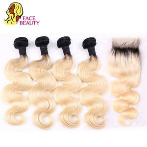 Facebeauty 1B/613 Blonde Ombre Bundles with Closure 613 Dark Roots Remy Human Hair Weave Bundle Brazilian Body Wave with Closure