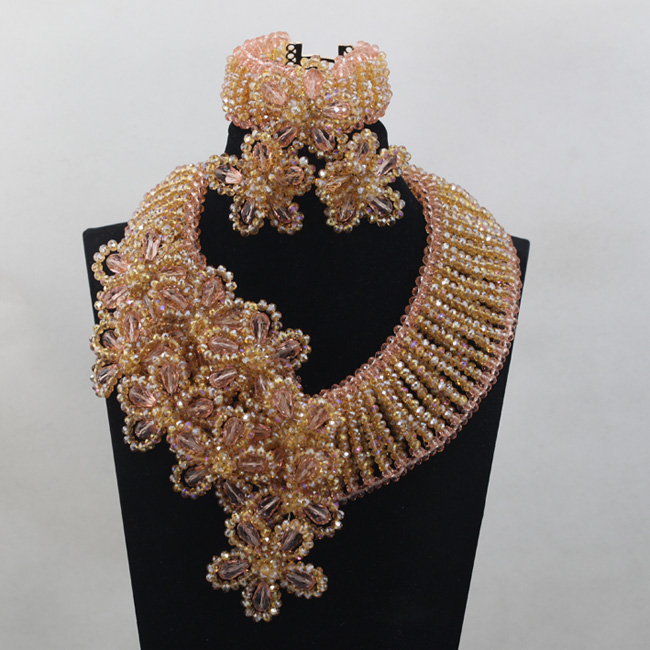 Luxury Champagne Gold Flowers Fall Wedding Jewelry Set Peach Crystal Statement Necklace Earrings Set Free Shipping WD749
