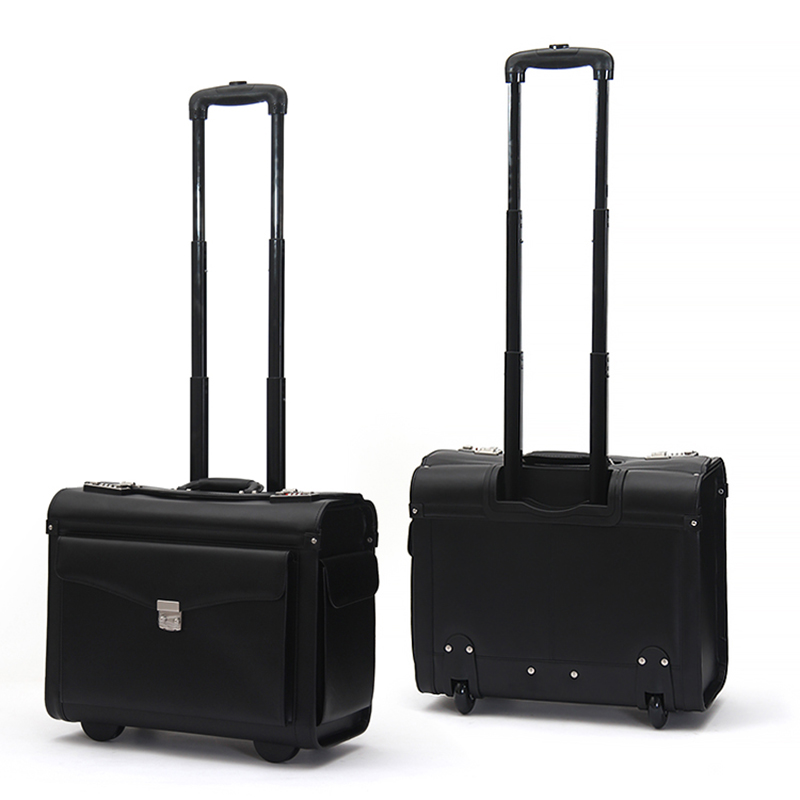 Carry-ons Letrend Black Pu Leather Rolling Luggage Spinner Men Business Suitcase Wheels 18 Inch Women Carry On Trolley Pilot Travel Bags