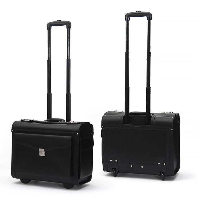 Letrend Genuine Leather Rolling Luggage Spinner Men Business Suitcase Wheels Carry On Trolley Pilot Travel Bags