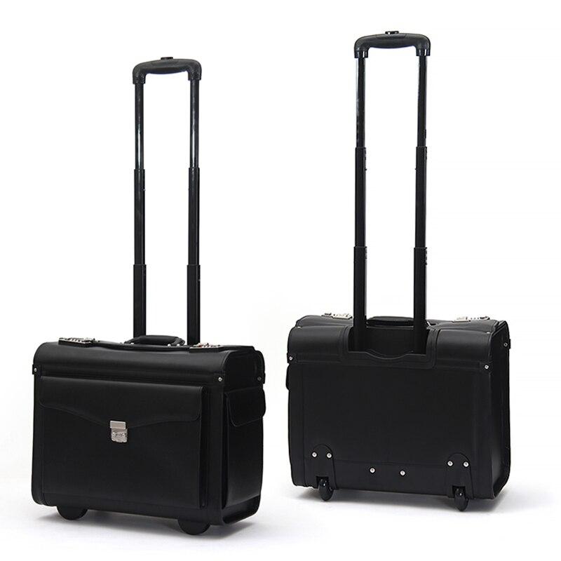 Bagaj ve Çantalar'ten Çek çek valizler'de LeTrend Hakiki Deri Haddeleme Bagaj Spinner Erkekler Iş Bavul Tekerlekleri Taşıma Arabası pilot Seyahat Çantaları laptop çantası'da  Grup 1