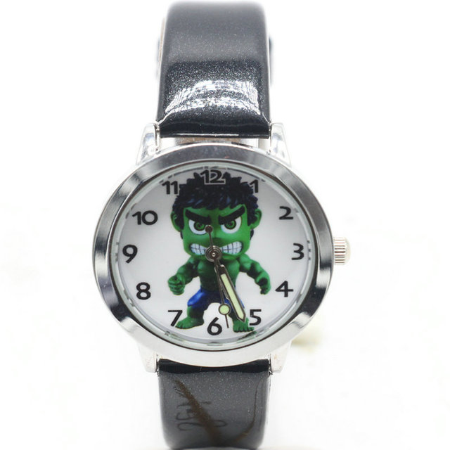 2018 new 1pcs kids leather watches children cartoon The hulk watch Clock boys Ho