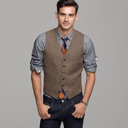 2018 Britischen Brauner Wolle Tweed Weste Manner Anzug Weste