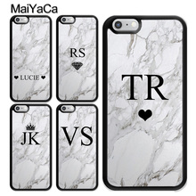 MaiYaCa PERSONALISED GREY MARBLE INITIALS Case for iPhone 6 6s Back Cover 7 8 Plus XS MAX X XR 5S Soft TPU Phone