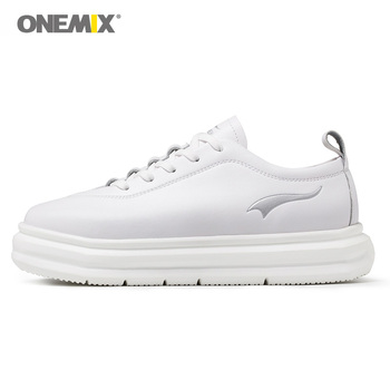 ONEMIX 2019 Woman Leather Platform Walking Shoes for Women White 5 CM Hight Increase Sneakers Outdoor Vogue Classic Footwear