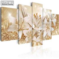 full square drill Diamond embroidery Beautiful lily 5D DIY diamond painting Cross Stitch Multi picture home decoration