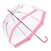 [ Fly Eagle ]Transparent Dome Long Handle Pattern and Trimmed Clear Rain Umbrella Pink