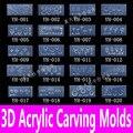 12 unids 3d acrílico Nail Art Mold Carving plantilla 139 Designs imagen patrón DIY suave decoración de la placa herramientas para polvo y líquido