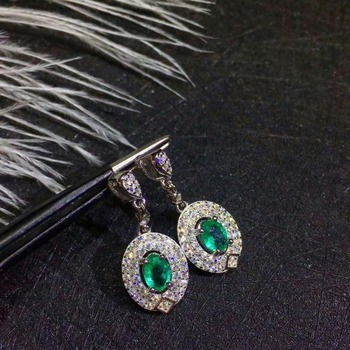 SHILOVEM 925 sterling silver Natural Emerald stud earrings classic fine Jewelry women wedding women gift new 4*5mm jce040508agml