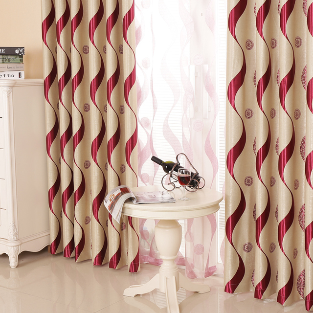 Senisaihon Europe Wine Red Striped Blackout Curtains Polyester ...