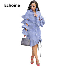 Women Ruffle Sleeve Dress Autumn Long Sleeve Elegant Midi Dress for Female Striped Shirt Dresses Slim Bodycon Party Vestidos ruffle sleeve striped tee