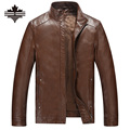 2017 Casual Mens Leather Jackets And Coats Standing Collar Male Leather Jacket Solid Color Faux Leather For Men's Winter Jackets
