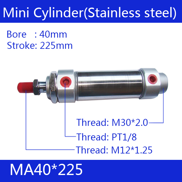 MA 32*225mm ,Free shipping Pneumatic Stainless Air Cylinder 32MM Bore 225MM Stroke ,  32x225 Double Action Mini Round Cylinders free shipping barrel 20mm bore 225mm stroke mal20 225 aluminum alloy mini cylinder pneumatic air cylinder mal20 225