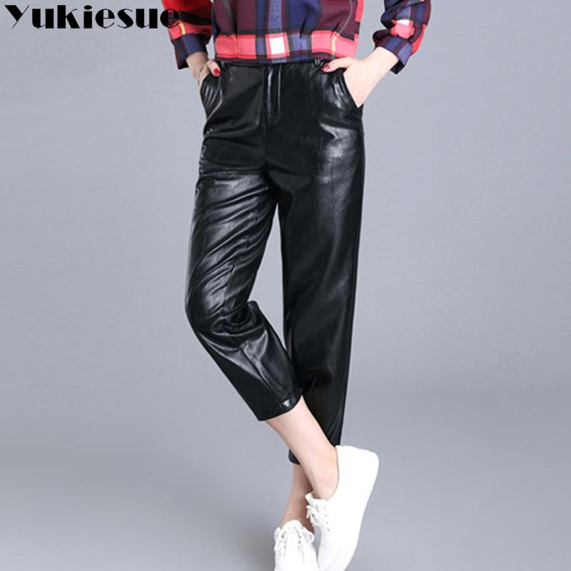 Pu leather pants capri women 2018 winter autumn Windproof loose harem pants women trousers female pantalon femme mujer plus size