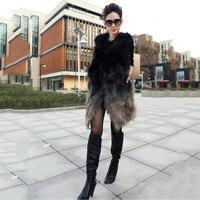 Длинный жилет женские из меха енота жилет пальто Куртки градиент Меховой жилет 2017 зимнее тонкое пальто шить меха волос теплый thicking жилеты