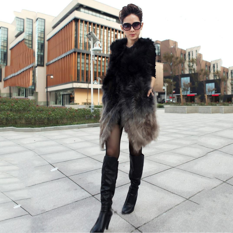 Long vest women raccoon fur vest coats jackets gradient fur vest 2017 winter thin coats stitching fur hair warm thicking vests