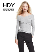 HDY Haoduoyi Women Solid Grey Sexy Sweater Cross Neck Cold Shoulder Rufles Female Elegant Pullovers Backless Lady Tops