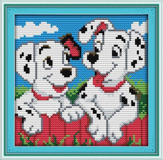 Dos puntos perro DIY costura DMC contado dimensiones libre Cruz ...