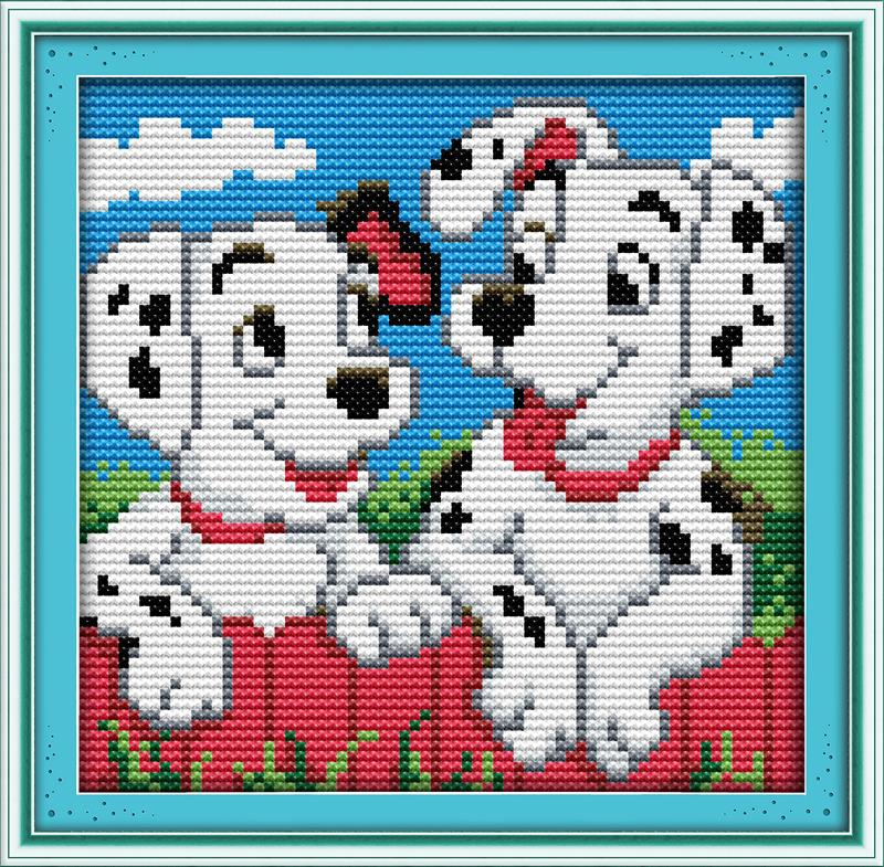 Knitting Art 4m : Two spots dog diy needlework dmc counted dimensions free