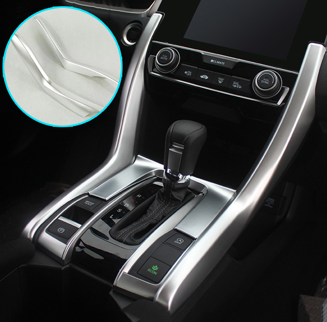 For Honda Civic 2016 2017 Lhd Chrome Center Console Cup Drink Holder Gear Shift Panel Cover Trim Frame Bezel Molding