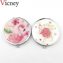 Vicney Warm Cute Pink Flamingo makeup Mirror round Folding Mirror Student Pocket Mirror Portable Makeup Accessories for women(China)