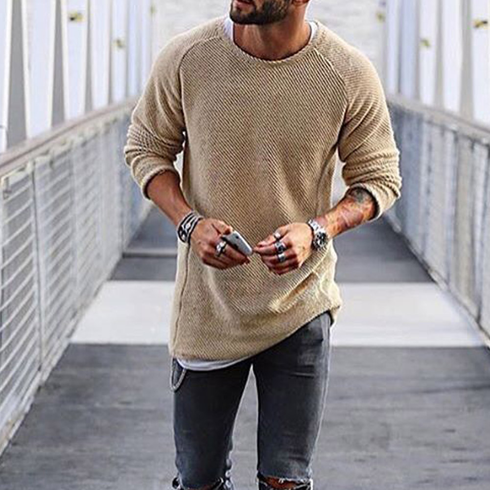 YJSFG HOUSE Fashion Mens Autumn Sweaters Knitted Sweat Long Sleeve O-Neck Pullover Coat Male Winter Top Jumper Sweater