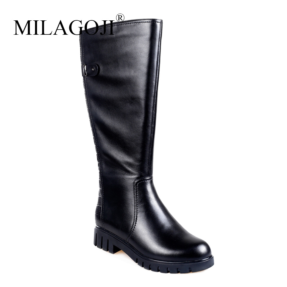 2018 Newest Fashion Genuine Leather Boots Knee High Back Zip Women Boots Low Heel Party Wedding Shoes Trainers Winter Warm Shoes