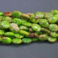 """Kindgems Natural Lime Jasper Beads Gems Stone Beads Strand 15""""/Diy For Jewelry Making for Women Oval Shape Smooth Surface Beads"""