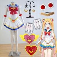 Cafiona Hot Sexy Sailor Moon Tsukino Usagi Princess Serenity Cosplay Costume Girls Mini Dress Set