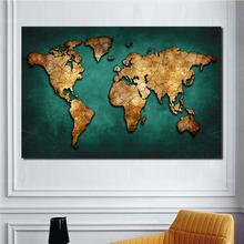 Modern Abstract World Map Posters Colorful Canvas Painting Wall Pictures for Office Decor Prints Art Home